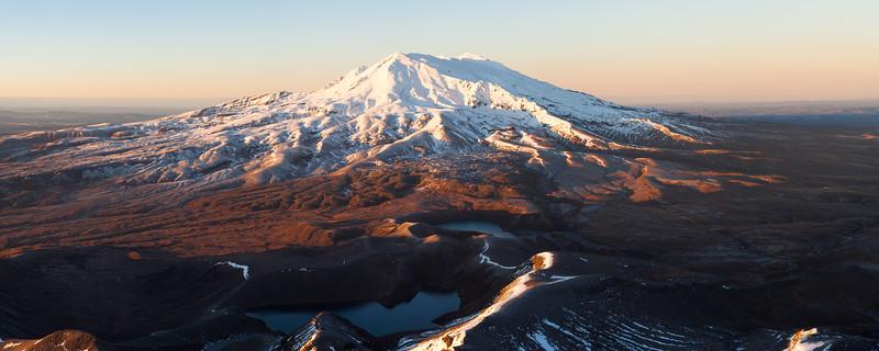 Winter sunrise, Mount Ruapehu from the summit of Ngauruhoe, Tongariro National Park