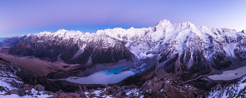 Hooker Valley and Mueller and Hooker Glacier terminal lakes. Mount Sefton (centre) and Aoraki Mount Cook (right) dominate the skyline. Aoraki Mount Cook National Park
