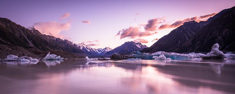 Early morning at Tasman Glacier Terminal Lake, Aoraki Mount Cook National Park