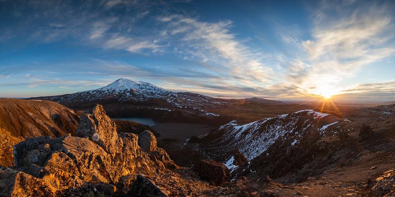 Mount Ruapehu and Lower Tama Lake at sunset. Tongariro National Park,