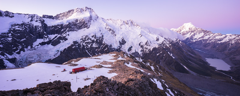 Mueller Hut, Sealy Range, with Mount Sefton, The Footstool and Aoraki Mount Cook above Hooker Valley