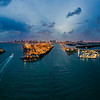 Miami Panoramic in the Evening Aerial