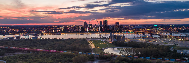 Downtown Skyline from across the Mississippi, Sunset