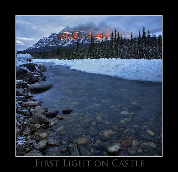Alpine glow on Castle Mountain, Banff Ab.<br /> <br /> Dec 1st, 2010
