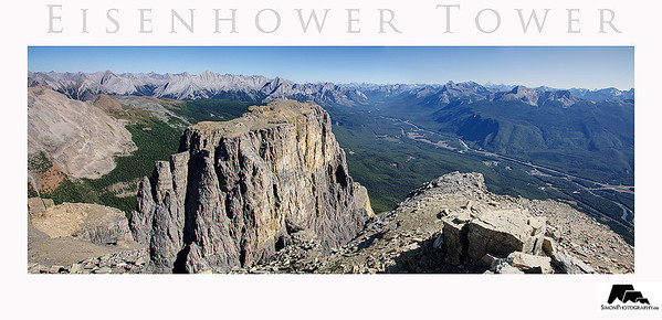 Eisenhower Tower viewed from above on the summit of Castle Mountain