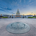U.S. Capitol Building & Compass at Twilight
