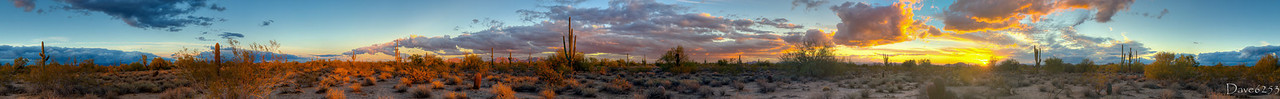 Day 14 - I wandered around in the desert near Tatum Boulevard and Jomax Road to shoot this sunset view. Can you believe this is in Phoenix city limits? This is the most massive 360 degree panorama I've ever stitched together. This is comprised of 135 exposures and took me about 1.5 hours to process! Is this enough for the next 135 days?   I couldn't leave well enough alone. I started over and after 2 more grueling hours of processing got this improved version of the day 14 photo.