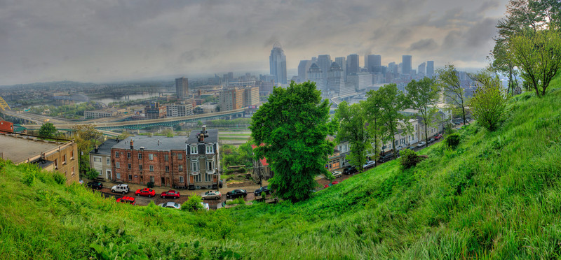 Hazy Cincy<br /> (Apr 14) Before heading to Arnolds for a monthly photography show with Misfits with Cameras I headed to Mount Adams to take my pano a day photo.  Turned out way better than I ever thought it would.