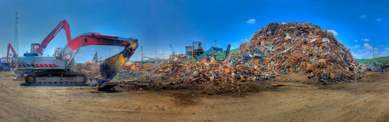 Mounds of Metal<br /> (May 6) Went with Club Blatz to a junk yard in Cincinnati, Ohio.  Took this panorama of one of the larger piles of metal debris.