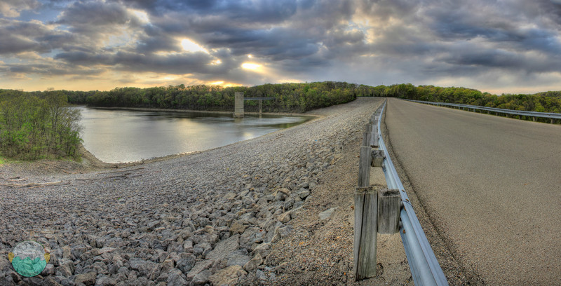 East Fork Dam<br /> (Apr 10) The view of the cloudy sunset on a brisk windy evening from atop the damn at East Fork Lake.  From here the water flows out to create the east fork of the Little Miami River.