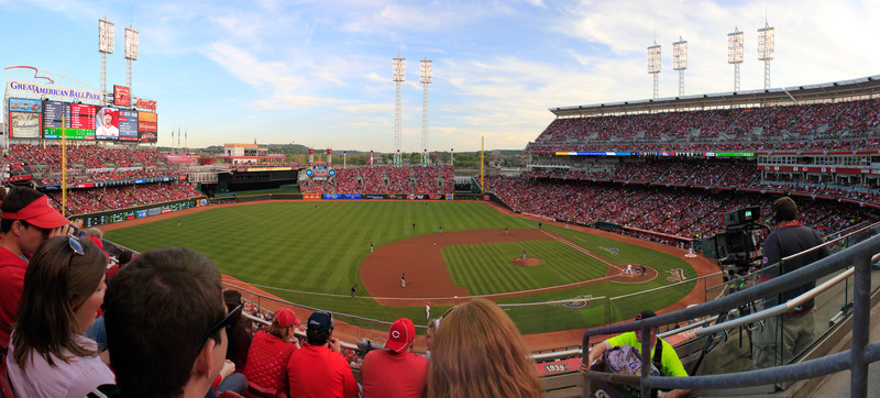 Opening Night<br /> (Apr 7) The view on Opening Ngiht's sold out crowd at GABP.  The Reds lost but the fireworks were good stuff afterwords.<br /> <br /> This is 9 photographs put together to make the whole panoramic view.