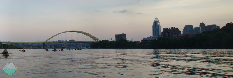 Paddlers Away<br /> Big Mac bridge on an evening paddle on the Ohio River.  Non traditional boat traffic is far from the norm.