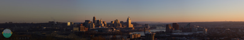 Awakening<br /> The city of Cincinnati glowing from the new mornings sunrise.  Taken from Devou Park in Covington, Kentucky.