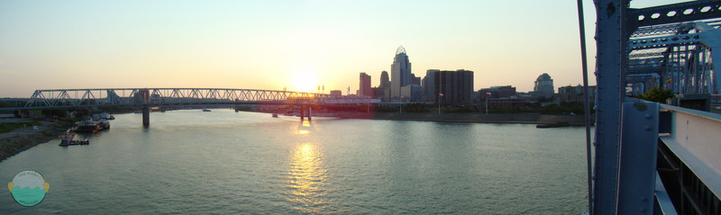 Bridge Gateway<br /> The sun is setting on Cincinnati from the Purple People Bridge.