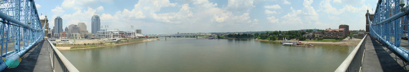 The Ohio River<br /> A view from the center of the suspension bridge.  Once the longest in the world.