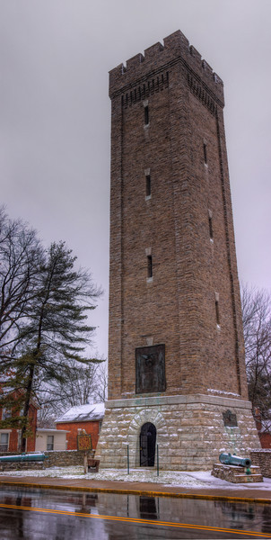 Snowy Tower<br /> Took this on a snowy day in Fort Thomas.  It a 3 shot HDR panoramic stiched together.  The HDR really brings out the detail in the stone work on the tower.  Also the refletion in the wet pavement I liked.