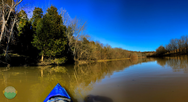 Kincaid Blue<br /> (Mar 10) This is heading up the creek that fills Kincaid Lake in Kentucky near Falmouth.  This is an HDR as well with a little bit of my own self portrait shadow appearing as I take the panoramic.