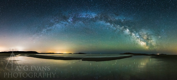 Panoramic image of the Milky Way over Popham Beach.