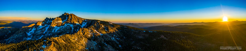Sunset at Sierra Buttes, CA - Rannger Lookout on top peek