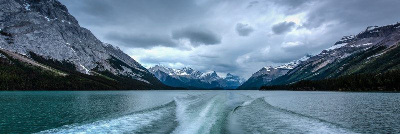 Cloudy Maligne Lake