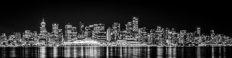 Downtown Vancouver View - Black and White