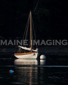 Sailboat at dawn.  Townsend Gut, Southport Island, Maine.  8533