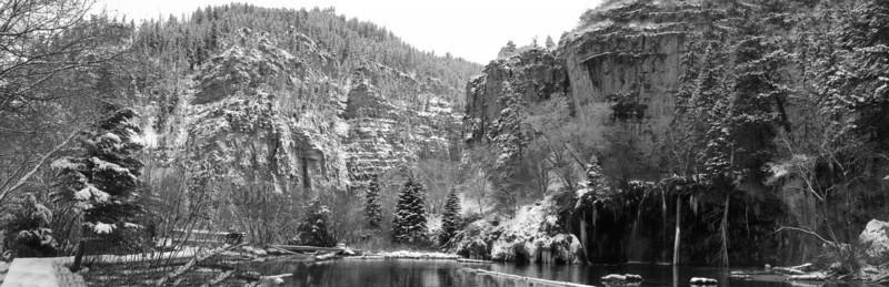 Hanging Lake panoramic - black and white