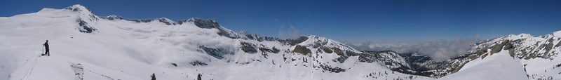A bluebird day after a week of storms... probably the reason why Nick and I had to share the cabin with only the hutmaster for an amazing weekend of skiing untracked powder.  <br /> <br /> Location: Top of Skier's Alta near Pear Lake Hut, Sequoia National Park, CA.  <br /> Date: April 15, 2006