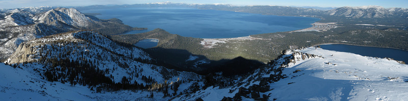 Looking down at Lake Tahoe from the summit of Mt. Tallac, a beautiful early winter day.  <br /> <br /> Location: Mt. Tallac, Lake Tahoe, CA<br /> Date: Jan 13, 2007