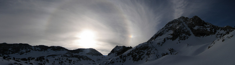 On our way up to ski the Red Slate Coulour on Red Slate Mountain (13,163) saw a beautiful sundog with a 22 deg Halo right next to our route, our guiding light.  Skiied it successfully, a long day in the Eastern Sierras.  <br /> <br /> Date: Feb 12, 2006 <br /> Location: Red Slate Mountain, Eastern Sierras, CA