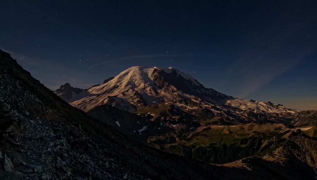 Moonlit Mount Rainier