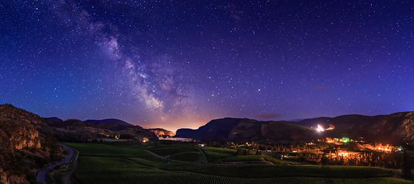 Blue Mountain Vineyards July Panoramic Milky Way