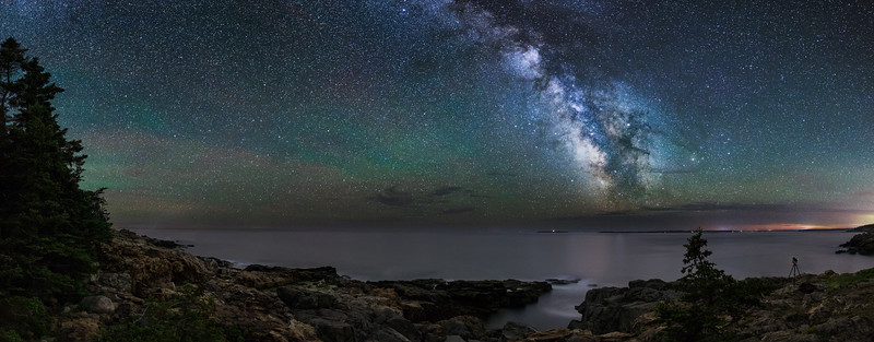 The Milky Way over the cliffs at Little Hunter's Beach - Acadia