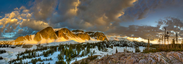 Sunrise in late spring in the Snowy Range Mountains outside of Laramie, Wyoming. The high-altitude landscape below Medicine Bow Peak is viewed from a hill above Mirror Lake, just off of the Snowy Range Scenic Byway.   Photo by Kyle Spradley | © Kyle Spradley Photography | www.kspradleyphoto.com