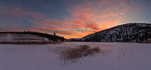 Green Lake Winter Supersunset- Panoramic