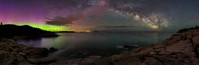 The Northern Lights and. the Milky Way - Monument Cove, Acadia