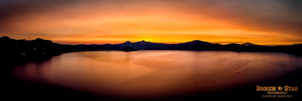 Crater Lake sunset panorama.  Forest fires in Northern California gave the skies incredible color at sunset.  14-Shots stitched together in Photoshop.