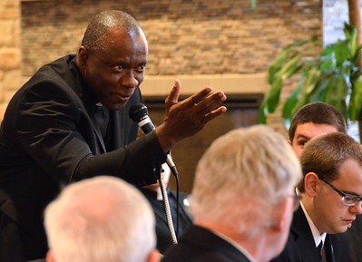 Fr. Michael Udoekpo, associate professor of Scripture, asks a question