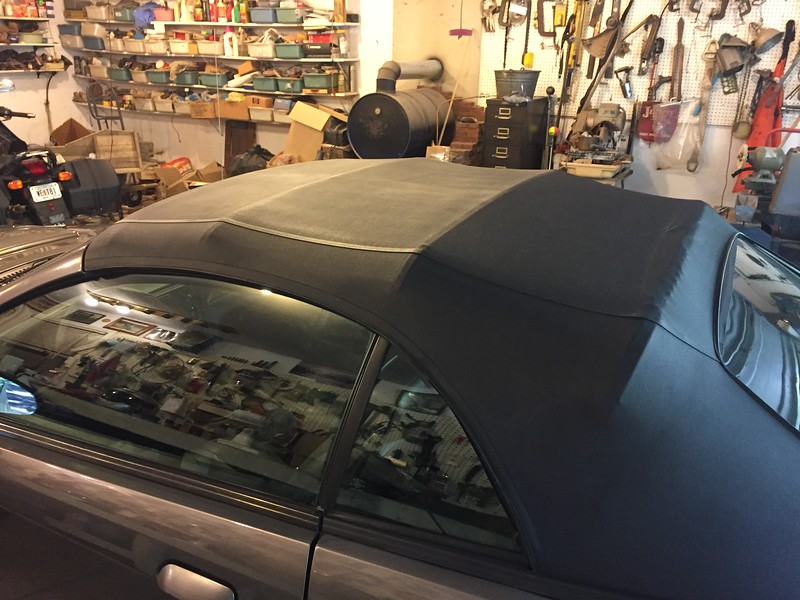 Convertible top after restoring color.