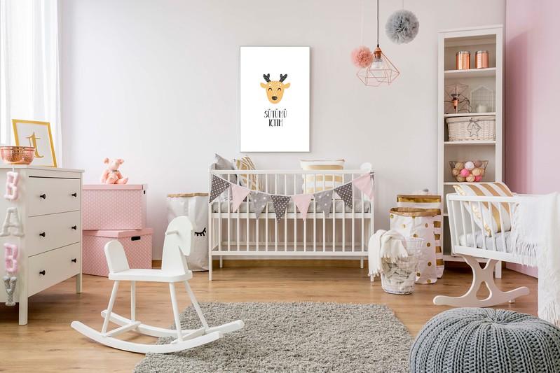 White poster mockup over crib