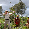 My turn with the bow and arrow. The first shot I took was embarrassingly erratic. But after a few attempts, my arrows actually flew a respectable distance  in sort of the correct direction. With the Huli Wigmen of the Tari Highlands, Papua New Guinea