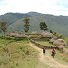 Small Dani village on high point that can be easily defended. Baliem Valley, West Papua