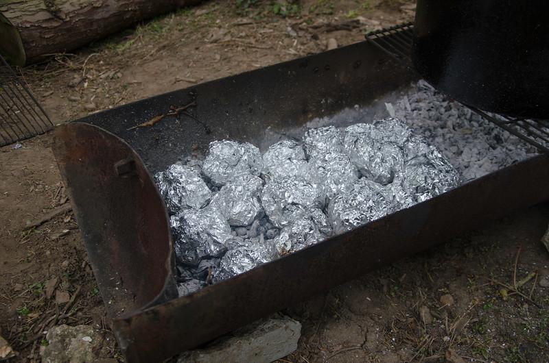 Les repas trappeurs en train de cuire