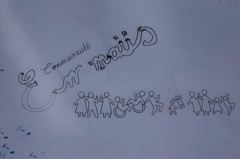 Le dessin de la fresque pour les compagnons d'Emmaüs