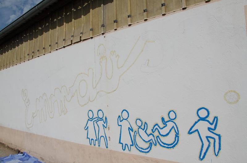 La fresque murale en cours de réalisation