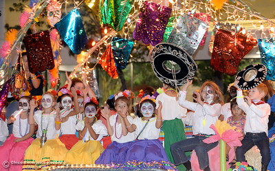 "Colors and lights galore along with children celebrating the day of the dead decorate this float as hundreds or maybe thousands of Chicoans line the streets of downtown Chico during the 29th annual Parade of Lights Friday Oct. 13, 2018. The theme of ""Exploration: From Deep Sea to Deep Space (and everything in between!),"" was evident as spacemen and undersea creatures made their way down Main Street.  (Bill Husa -- Enterprise-Record)"