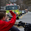 KRISTOPHER RADDER — BRATTLEBORO REFORMER<br /> People wave as a parade of first responders and teachers go down School Street and turn onto Route 5, in Westminster, Vt., on Friday, April 24, 2020.