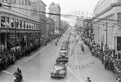 Harry Truman's Motorcade Coming Down Columbus Ave 1945
