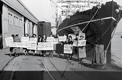 Dockside Protest of Japanese Goods by pacifist women