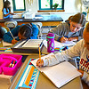 Sullivan School 5th grade students working on letters of comfort for students in Paradise Ca., after the fires they had, L-R, Audrianna Quadros, Azalea Rodriguz, Danielle Finn and Abby Meade. SUN/David H. Brow